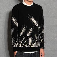 毛衣男士韩版潮流个性圆领羊毛衫线衫宽松修身型百搭秋冬针织衫潮 黑色