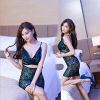 情趣女内衣 欧美女式性感孔雀刺绣旗袍制服诱惑睡衣套装 均码