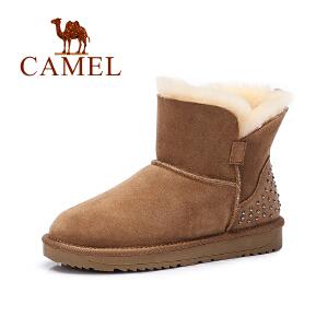 Camel/骆驼女鞋 新款雪地靴加绒加厚短筒保暖皮毛雪地靴