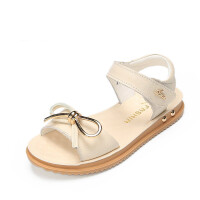 软底儿童凉鞋夏季女童凉鞋真皮时尚中大童公主鞋2018新款白色童鞋 米白色
