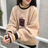 羊羔毛卫衣女加绒加厚高领2018秋冬新款韩版宽松羊羔绒厚款外套女