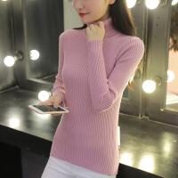 高领毛衣女2018秋冬款韩版套头打底衫修身短款长袖加厚保暖针织衫