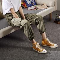 [1件2.5折价70.4元]唐狮春新款工装裤女韩版宽松休闲裤女潮流束脚大口袋裤子