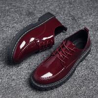 男士小皮鞋黑色韩版亮皮英伦圆头潮流学生系带青年男式休闲男鞋子