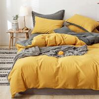 多喜爱全棉四件套双面磨毛简约纯棉加厚纯色床品套件简色流光黄