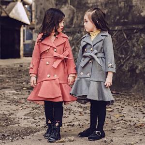 女童呢子外套2017秋冬新款儿童毛呢大衣女宝宝童装翻领双排扣潮衣