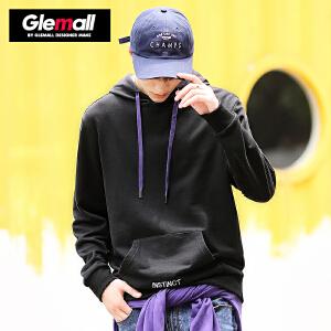 森马潮牌GLEMALL 男士连帽卫衣个性兜帽衫细目刺绣撞色纯棉简约打底衫