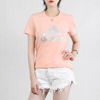 幸运叶子 Adidas/阿迪达斯短袖女装春季新款运动服休闲上衣舒适透气圆领印花大logo半袖T恤FM9448