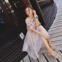 谜秀碎花连衣裙两件套2017夏季韩版雪纺衫+网纱半身裙套
