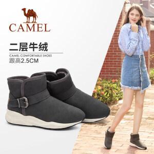 camel/骆驼女鞋2017秋冬新款简约舒适保暖短筒靴子时尚运动风雪地靴