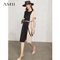 Amii极简温柔风撞色仿醋酸连衣裙2021夏新款修身开叉短袖中长裙女
