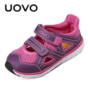UOVO 2017新款夏季儿童休闲鞋包头凉鞋 中大童鞋 魔术贴沙滩鞋云之子