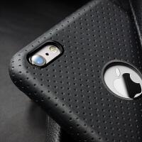 苹果6手机壳真皮iphone6 plus手机套商务后盖5.5保护皮套 5.5寸iphone6 plus睿智黑