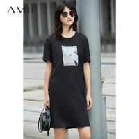 【满200减100上不封顶】Amii2018夏几何印花宽松下衣失踪T恤连衣裙子女直筒连衣裙