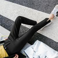 七格格冬季裤子女韩版学生宽松百搭小脚开叉黑色休闲裤潮