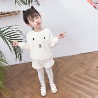 女宝宝秋冬装小童时髦套装女童冬季洋气儿童三件套潮
