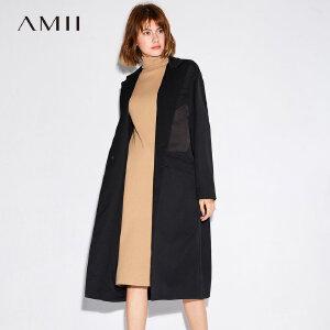 Amii极简时尚欧货复古港风外套女2018秋冬新宽松翻领长袖开衫风衣