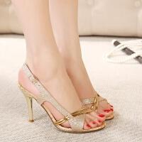 波西米亚凉鞋新款夏时尚舒适细跟细带高跟鱼嘴罗马露趾女凉鞋 金色
