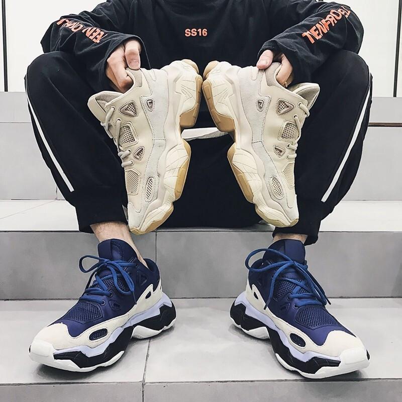 老爹潮男真皮夏季2019新款韩版百搭网红增高运动休闲鞋子 789-129蓝色