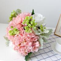 甜梦莱玫瑰仿真花束绣球假花客厅装饰房间的小饰品摆件ins北欧餐桌花艺 粉红色 花束