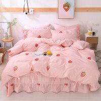 网红款床上四件套全棉纯棉少女心被套床单公主风女孩儿童三件套件 四件套1.8床[ 被套2.0×2.3][ 加大床单
