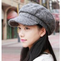 韩版潮流休闲羊毛呢贝雷帽 百搭女士鸭舌帽八角帽显脸小帽