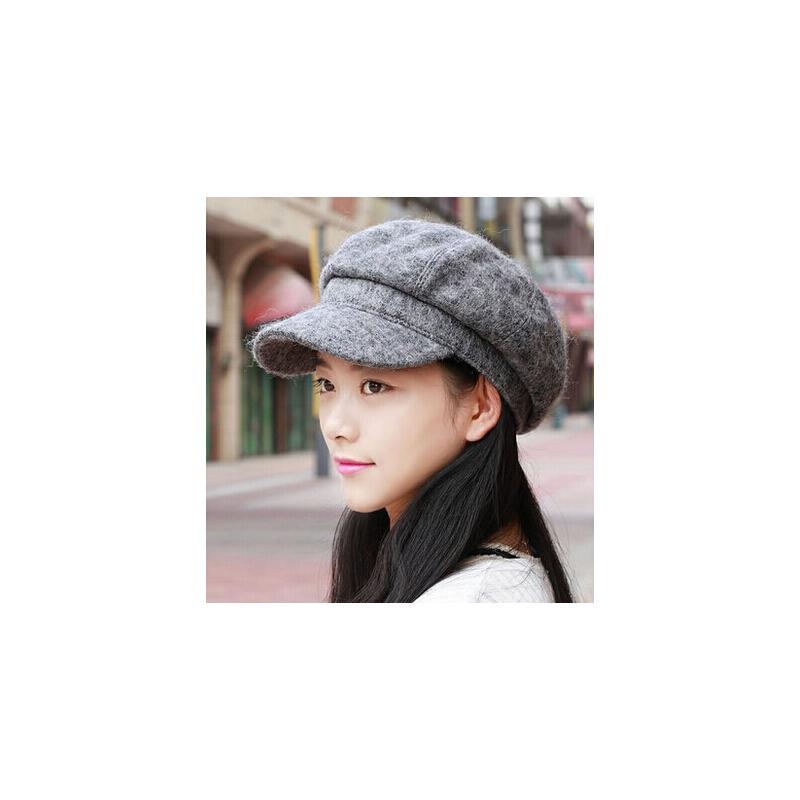 韩版潮流休闲羊毛呢贝雷帽 百搭女士鸭舌帽八角帽显脸小帽 品质保证 售后无忧 支持货到付款