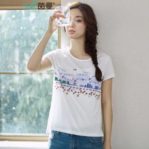 【每满200减100】茵曼夏装新款原创文艺范印花棉恤女短袖体恤衫【1872022077】