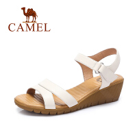 Camel/骆驼女鞋 夏季新款简约透气增高坡跟鞋 舒适凉鞋女