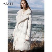 【券后价:912元】Amii极简轻奢气质毛翻领外套简约冬新90白鸭绒中长款白色羽绒服女