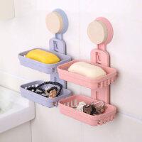 卫生间置物架 壁挂 创意浴室香皂架 吸盘双层肥皂盒 沥水吸壁式置物免打孔托