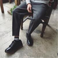秋冬阔腿裤宽松休闲裤男大码胖子加肥加大锥形萝卜裤松紧羊毛西裤 黑色 M