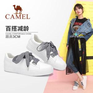 Camel 骆驼女鞋 2018春季新品 简约舒适小白鞋女 甜美系带单鞋