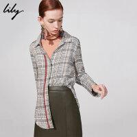 Lily春新款女装气质格纹不对称单排扣长袖衬衫118400C4109
