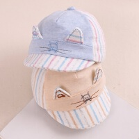 婴儿帽子春秋0-3-4个月男女宝宝纯棉鸭舌帽布帽初生新生儿遮阳帽