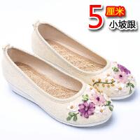 新款老北京布鞋女刺绣花鞋亚麻软底大码平底单鞋一脚蹬中国名族风 坡跟 34 脚胖脚宽拍大一码