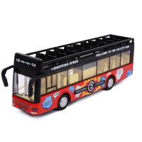 合金双层巴士公交车大巴车公共汽车模型 语音声光回力儿童玩具车