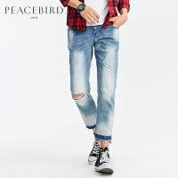 太平鸟男装 春装新款水洗磨破浅蓝色破洞个性潮流牛仔裤B2HA71480