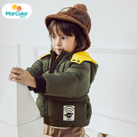 马卡乐男宝宝羽绒服男童短款连帽飞行员造型时尚保暖2019年冬新款