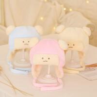 婴儿帽子冬季毛绒帽宝宝护耳夹棉帽子