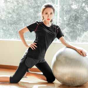 卡茗语大码运动套装200斤秋装跑步健身服2017新款短袖速干两件套潮