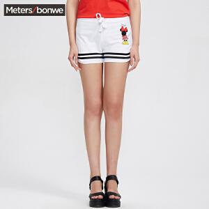 【领券即享100元任选4件】美特斯邦威夏装女MTEE迪士尼校园风格数字针织短裤249823