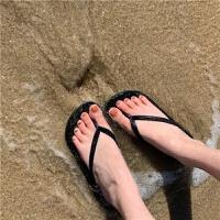 人字拖女夏平底外穿休闲百搭海边夹脚拖鞋沙滩鞋韩版 黑色 偏小2码