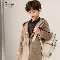 纯一良品男童羊毛呢大衣中长款2018冬装新款中大童双面呢毛呢外套