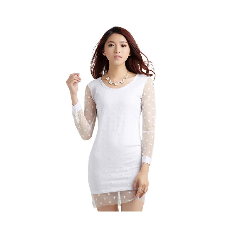 2018夏季新款女装潮韩版文艺显瘦学生裙子波点长裙针织包臀连衣裙