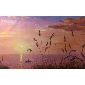 朝鲜油画 一级画家 李大日《夏日的晚霞》【大千艺术品】