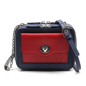 艾吉贝包包新款夏季小包包撞色小方包迷你链条包复古女斜挎包 女包 斜挎