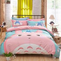 床上四件套棉纯棉床单被套网红款夏季裸睡亲肤ins风1.8m单双人