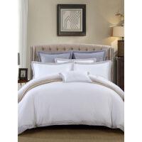 【人气】放心购 床上四件套纯棉全棉床单被罩四件套单双人床上用品1.5m床简约大气 白色1.5M配2*2.3M被芯 1.