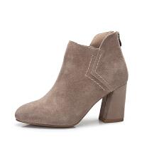 camel骆驼女鞋 秋冬新款 简约百搭高跟短靴 舒适磨砂女靴粗跟靴子